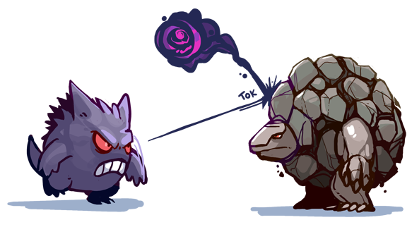 gengar attacking golem
